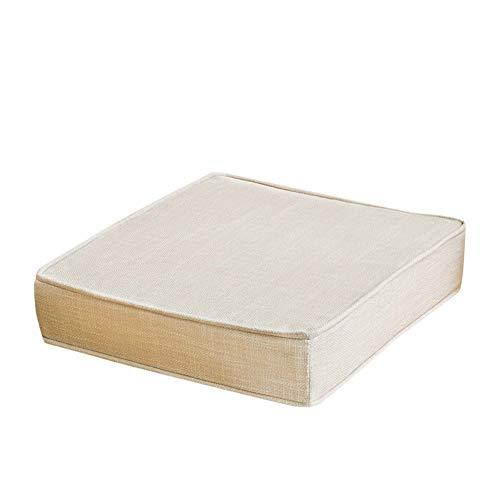 SHBV Cojín de Lino de Color sólido para Silla cojín de Asiento de Relleno de Esponja Cuadrada Gruesa tapete de sofá Chino y cojín de Silla de Interior y Exterior con Cremallera Invisible A 55x5
