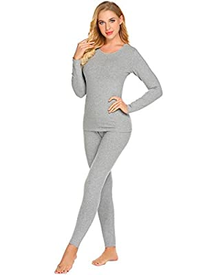 Ekouaer Thermal Underwear Women's Cotton Long Johns Set Scoop Neck Top & Bottom Pajama Winter Base Layering Set, Grey, XXX Large