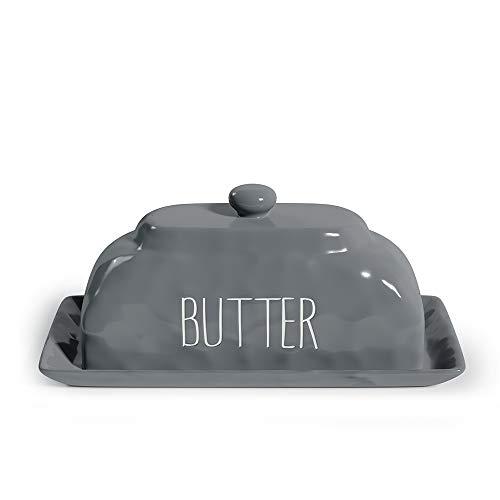 Barnyard Designs Keramik-Butterdose mit Deckel, dekorativer Deckel für Kühlschrank, Bauernhaus-Butterhalter, Küchendekoration, Grau, 20,3 x 10,2 cm