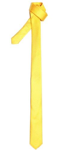 Retreez Corbata fina para hombres con textura de rayas Amarillo