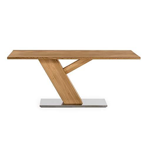 Amazon Marke -Alkove - Hayes - Massivholztisch mit Edelstahlunterbau, 180cm, Wildeiche