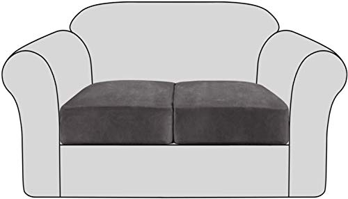 JIAYOUFC Sofa Slipcovers Stretch Velvet Non-Slip Sofa Couch Cushion Cover - Removable Sofa Seat Covers with Elastic Bottom, Washable Elastic Furniture Slipcovers Protector for Kids and Pets (Gray,2