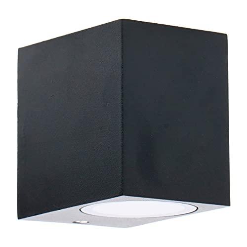 Aplique de pared exterior de aluminio. Casquillo 1x GU10 para LED y halógeno. Pantalla difusora de cristal. Color negro