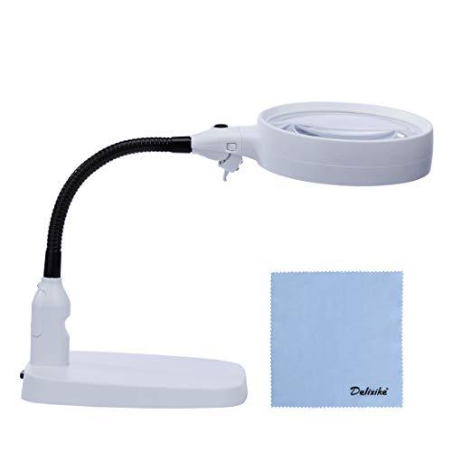 Delixike Lámpara de mesa y escritorio con luz LED ultrabrillante, gran lupa manos libres para lectura, pasatiempos, manualidades, banco de trabajo, arte de diamante
