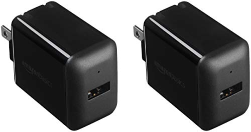 Amazon Basics One-Port 12W USB Wall Charger for Phone, iPad, and Tablet, 2.4 Amp, Black (2-Pack)