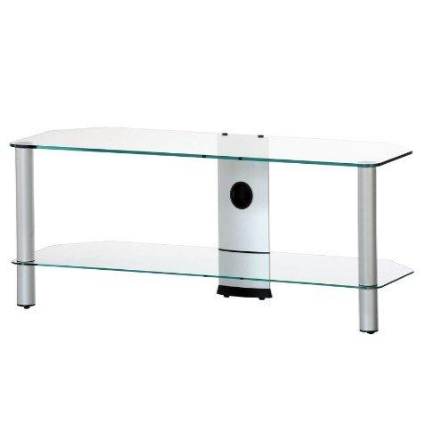 SONOROUS NEO-2110 TG - Mueble TV de 2 estantes. Vidrio Transparente/Chasis de Color Gris. Ancho 110 cms.