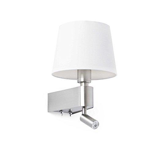 FARO BARCELONA 29976 - Room Aplique LED, 20W^3W, Metal y Pantalla Textil, Color Blanco (Bombilla no incluida)
