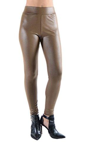 Dinamit Jeans Juniors Faux Leather Liquid Wet Look Leggings Taupe L