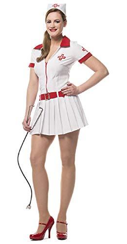 narrenkiste L3200280-34 - Disfraz de enfermera para mujer, talla 34, color blanco y rojo