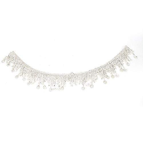 SHYEKYO Cadena de Borla de 1 Yarda, Cadena de Borla de Diamantes de imitación, para Vestido de Novia para Bricolaje Hecho a Mano(#1)
