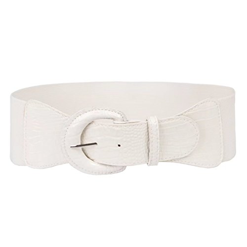 Sexy Corset Chunky Belts with Big and Round Buckle (S,White)