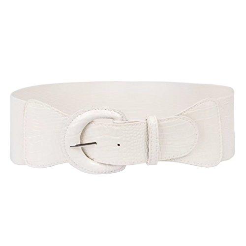 Teen Girls Faux Leather Belts Cincher Plus Size (3XL,White)