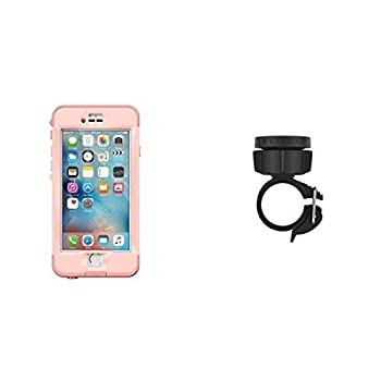 Lifeproof NÜÜD SERIES iPhone 6s Plus ONLY Waterproof Case  5.5  Version  - Retail Packaging - FIRST LIGHT  PINK JELLYFISH/CLEAR/SEASHELLS PINK  and Lifeproof LifeActiv Bike/Bar Mount with Quickmount - Mount - Retail Packaging - Black Bundle
