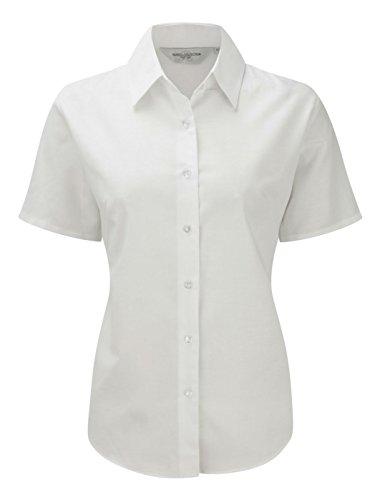 Damen-Bluse mit kurzen Ärmeln aus der Russell Collection Gr. S, weiß