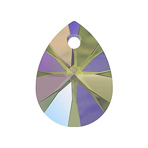2 colgantes de elementos de Swarovski – Xilion pera (6128), cristal paradie, 12 mm (colgante Swarovski Elements – Xilion Pearl (6128), Crystal Paradise Shine)