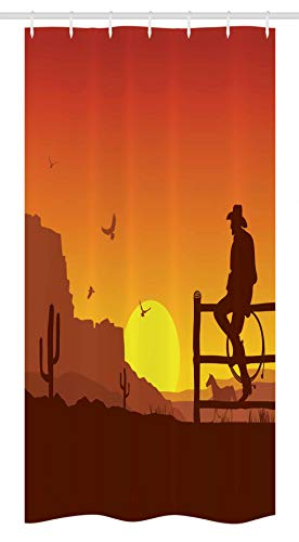 """Ambesonne Western Stall Shower Curtain, Silhouette of Cowboy in Wild West Sunset Scene American Culture Image Print, Fabric Bathroom Decor Set with Hooks, 36"""" X 72"""", Orange"""