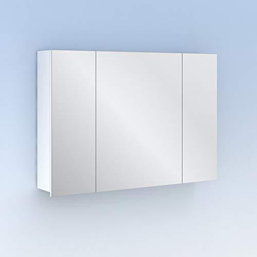 Midori Mueble Auxiliar Baño con espejo, acabado en Blanco Brillo, con 3 puertas y anchura de 98 cms.
