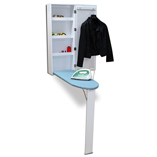 Organizedlife White Wall Mount Ironing Board Center Cabinet with Mirror and...