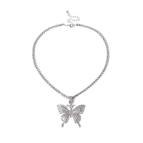 RXING Big Butterfly Pendant Necklace Rhinestone Chain Jewelry Adjustable for Women and Girls Bling Silver Chain Crystal Choker Necklace Jewelry