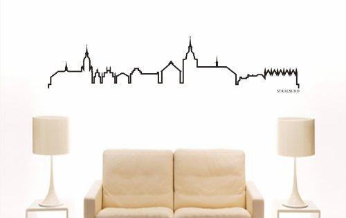 INDIGOS UG - Wandtattoo Wandsticker Wandaufkleber Aufkleber - Wandaufkleber e888 Skyline Stadt - Stralsund (Deutschland) Design 4-180x41 cm - schwarz - Dekoration Küche Bad Büro Hotel