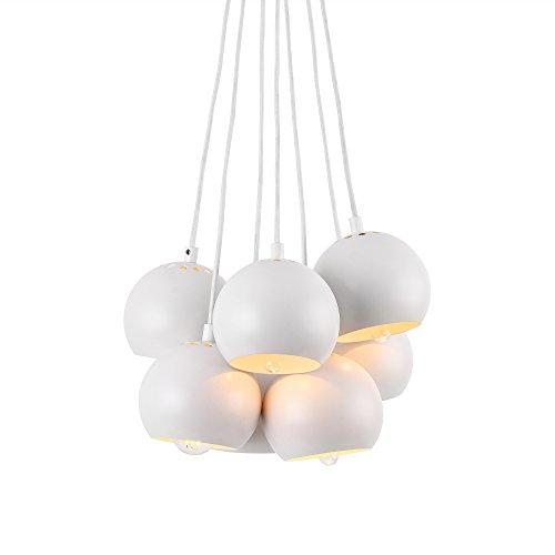 lampadario a sospensione palla [lux.pro] Lampadario a sospensione moderno di metallo con 7 paralumi a forma di palla - bianco