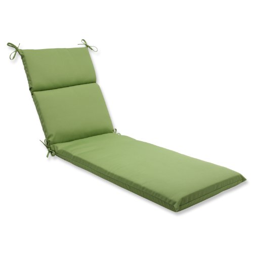 Pillow Perfect Indoor/Outdoor Chaise Lounge Cushion with Sunbrella Canvas Ginkgo Fabric, 72.5 in. L X 21 in. W X 3 in. D,Green