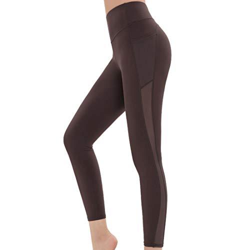 XLDD Leggings Damen Yoga Fitnesshose High Waist Kompressions Sport Hose Damen Sport Leggings Yoga Hose Laufhose Fitnesshose Jogginghose mit Taschen L