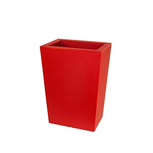 Teraplast Schio Cassa Jardinière Haute 50 cm, Plastique 100 %, Rouge Cardinal, 50 cm