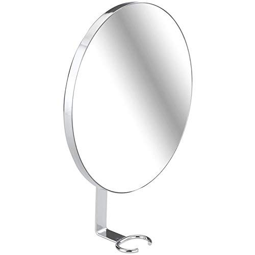 WENKO 22734100 Turbo-Loc Antibeschlagspiegel, beschlagfreier Duschspiegel, Rasierspiegel, Spiegelfläche ø 17 cm 100 % Vergrößerung, Edelstahl rostfrei, 17 x 23 x 4 cm, Glänzend