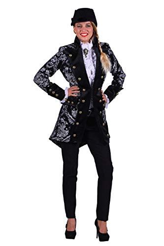 Thetru Damen Kostüm Barock Brokat Jacke schwarz-Silber Karneval Gr.S