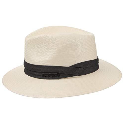 Stetson Chapeau Jefferson Bleach Panama Homme - Made in Italy Traveller en Paille pour avec Ruban Gros Grain Printemps-ete - 56 cm Blanc Creme