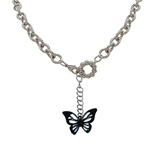 YQMJLF Collar Moda Accesorios Collares Mujer Collar de Mariposa Dulce y Fresco Diseño Femenino Tendencia Hip Hop Nuevo Collar de Cadena de clavícula señoras Joyas Boda Navidad año Nuevo Regalo