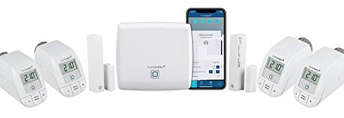 Homematic IP Access Point - Smart Home Gateway mit kostenloser App und Sprachsteuerung über Amazon Alexa + 4X Heizkörperthermostat – Basic, Push-to-Pair + 2X HmIP-SWDM Fensterkontakt, smart