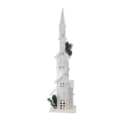 Northlight 27.5' Battery Operated Warm White LED Snowy Church Tower Christmas Decor
