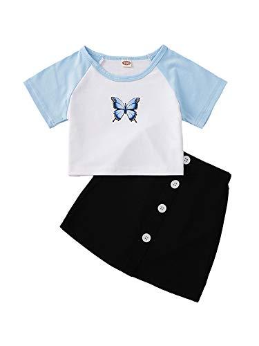 Conjunto de verano para niña, 2 piezas, camiseta de manga corta con...
