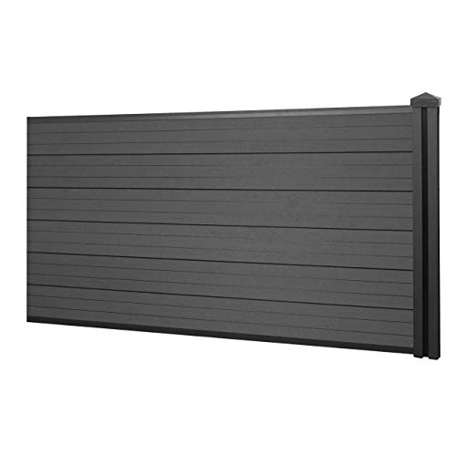 Mendler WPC-Sichtschutz Sarthe, Windschutz Zaun, WPC-Pfosten ~ Erweiterungselement niedrig, 1,88m anthrazit