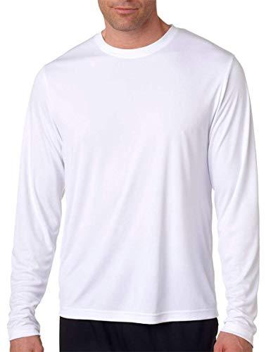 Hanes Men's Long Sleeve Cool Dri T-Shirt UPF 50+, Small, 2 Pack ,1 Black / 1 White