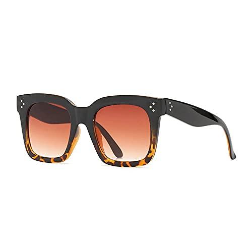 HAIGAFEW Gafas De Sol Mujer Azul Rosa Tonos Metal Remache Decoración Cuadrado Gafas De Sol Mujer Proteger Los Ojos-Té de Leopardo Negro