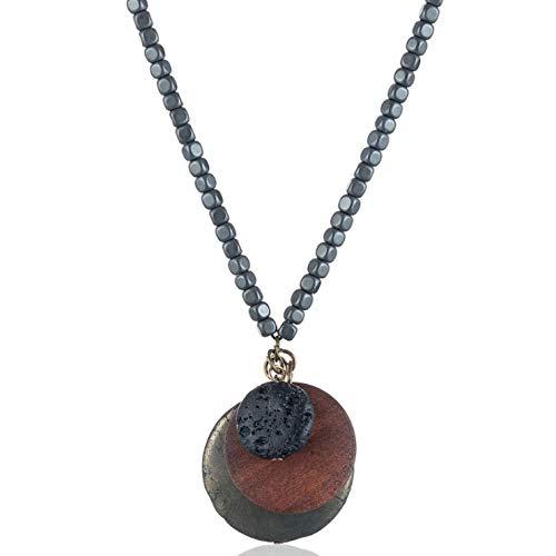 Empty sieraden voor dames houten kralen ketting lange hanger van steen en hout halsketting voor dames