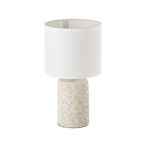 D,casa - Lámpara de Mesa de Cemento Beige 18,50x18,50x33 cm