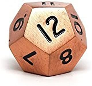 Legendary Copper Metal D12 Dice - Single 12 Sided RPG Dice with Black Numbering