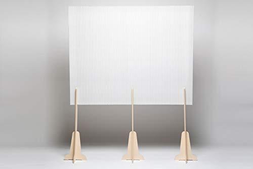 SplitUp, Trennwand aus halbtransparenter Pappe und Birkenholz. Die Schutztrennwand mit Mannshöhe ist ideal für Büros und Restaurants, öffentliche Orte und Geschäfte, und Ausgängen und zur Raumtrennung