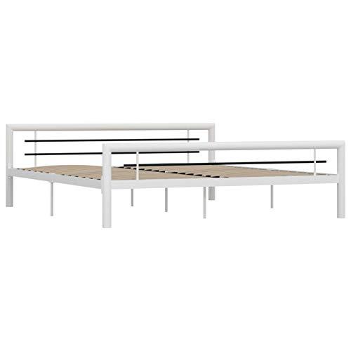 Tidyard Estructura de Cama de Metal Marco de Cama de Dormitorio Estructura Base con Somier Blanco y Negro 180x200 cm