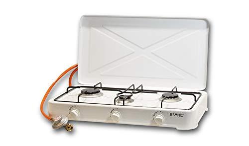 RSonic tragbarer Campingherd | Gaskocher Campingkocher | Tischkocher mit Deckel | Weiß | 2.5-4.8KW | inkl. Regler + Schlauch (3-flammig)
