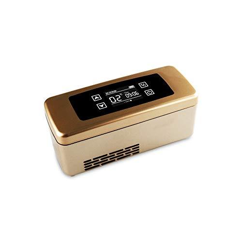 YJDQYDSH Insulin-Kühler-Reise-Koffer,Medizinische Mini-KüHlschrank, verschiedene Stromversorgungsmethoden,3 Farben/golden/A