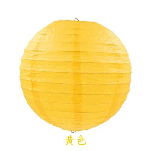 4/6/8/10/12/14/16 pulgadas linternas de papel chinas redondas cumpleaños decoración de boda regalo DIY Lampion colgante bola suministros de fiesta, amarillo, 40 cm