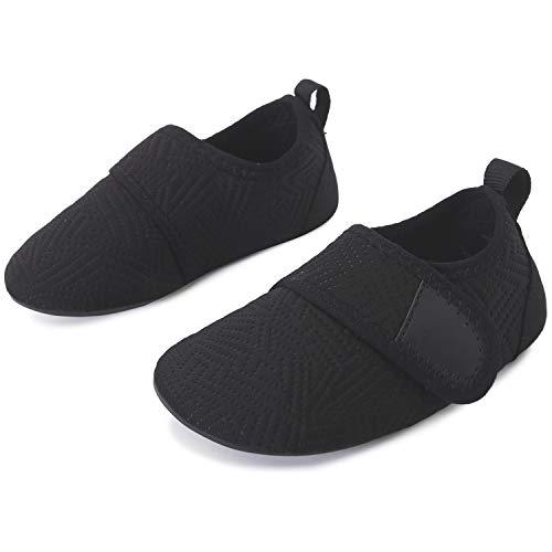 L-RUN Jungen Mädchen Schnell trocknende Barfuß-Aqua-Socken für Beach Pool Strip Black 2.5-3 = EU18-19
