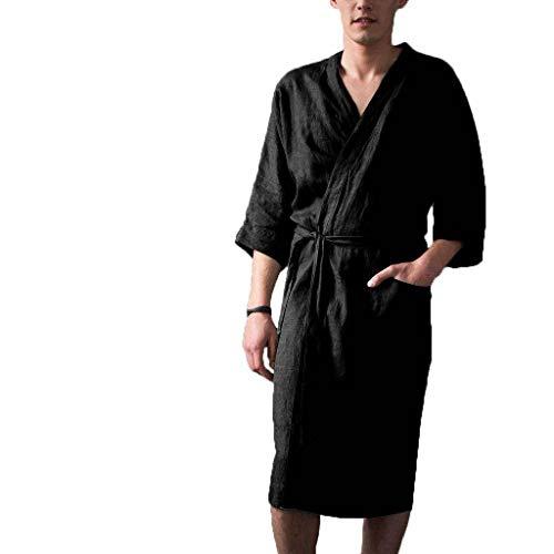 Color Sólido Lino Albornoz, Ligero Bata De Baño Kimono