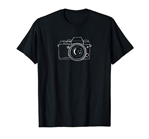 Fotografía Obsequio Cámara digital sin espejo y arte lineal Camiseta