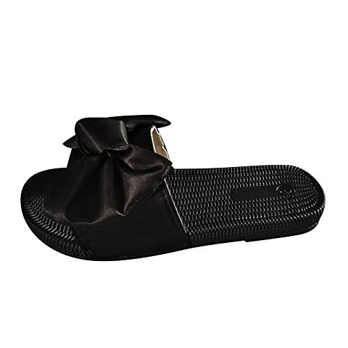 sandali donna estivi pelle donna nero scarpe sposa zeppa ciabatte donna sughero infradito donna in sughero (Nero,36 EU)